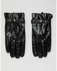 ASOS Gants en cuir avec finition vinyle pour écran tactile - Noir
