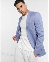 River Island Slim Suit Jacket - Blue