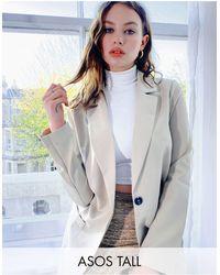 ASOS Asos Design Tall Mansy Suit Blazer - Natural