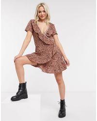 Brave Soul Платье Мини С Запахом, Оборками И Леопардовым Принтом -медный - Многоцветный