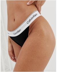 Calvin Klein Modern - Hoog Opgesneden Katoenen Tanga - Zwart