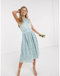 Oasis - Кружевное Приталенное Платье Светло-бирюзового Цвета Вridesmaid-зеленый - Lyst