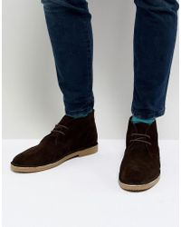 Dune - Desert Boots In Brown Suede - Lyst