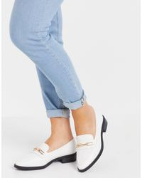 Glamorous Loafers With Gold Trim - White
