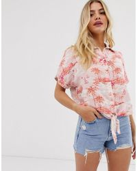 New Look Tie Front Shirt In Pink Tropical Print