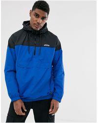 Bershka Overhead Windbreaker Jacket With Half Zip - Blue