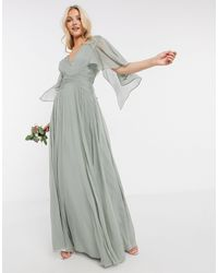 ASOS Bridesmaid Ruched Bodice Drape Maxi Dress With Wrap Waist And Flutter Cape Sleeve - Green
