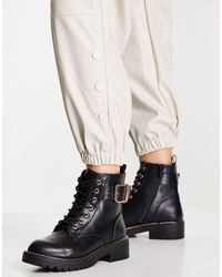 New Look Buckle Detail Lace-up Boots - Black