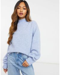 & Other Stories Pull en tricot à col montant - Bleu