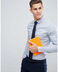ASOS - Skinny Shirt In Grey - Lyst