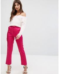 Fashion Union - Cigarette Trousers In Luxe Fabric - Lyst