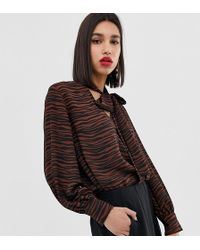 Warehouse Pussybow Blouse - Brown