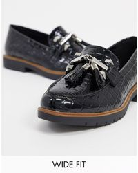 Truffle Collection Wide Fit Flat Metal Trim Loafers - Black
