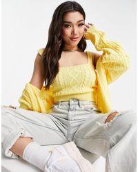Naanaa Knitted Cardi And Cami Set - Yellow