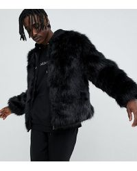 The New County Bomber Jacket In Faux Fur - Black