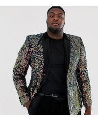 ASOS Plus Skinny Blazer In Black Velvet With Iridescent Sequins