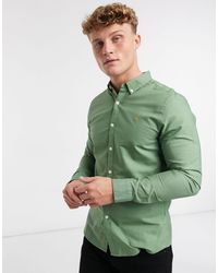 Farah Зеленая Облегающая Оксфордская Рубашка С Логотипом Brewer-зеленый
