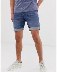 ASOS Short slim en jean délavé foncé - Bleu