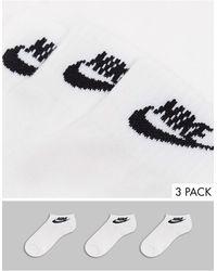 Nike Futura - Set Van 3 Enkelsokken Met Swooshlogo - Wit