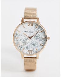 Olivia Burton Terrazzo - Horloge Met Mesh En Bloemenprint - Metallic