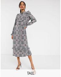 Vero Moda Tall Check Ruffle Front Shirt Dress-multi - Multicolour
