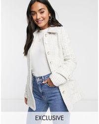 Fashion Union Твидовый Пиджак От Комплекта -neutral - Белый