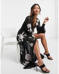 ASOS Wrap Maxi Dress With Satin Applique Floral - Black