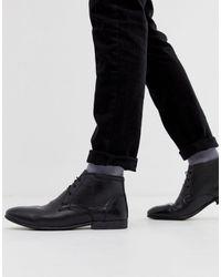 ASOS Черные Кожаные Ботинки-чукка - Черный