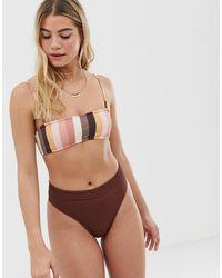 Rhythm Palm Springs Xanadu Rib High Leg Bikini Bottom - Brown