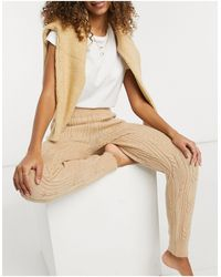 ASOS Mix & Match Lounge Knitted Cable Knit legging - Natural