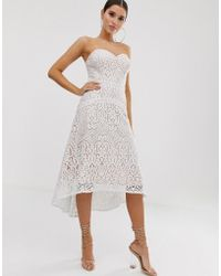 Lipsy Sweetheart All Over Lace Prom Dress In White