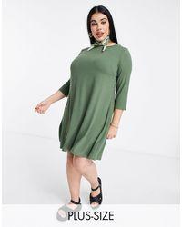 Simply Be Vestito svasato kaki - Verde