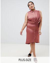 River Island Wrap Front Shirt Dress - Pink