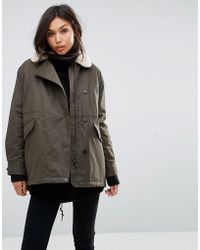 Parka London - Zoe Swing Coat With Shearling Collar - Lyst
