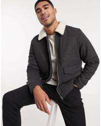 New Look Куртка Харрингтон Из Материала С Добавлением Шерсти -серый