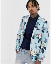 ASOS Skinny Blazer With Floral Allover Print In Blue