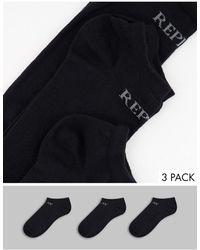 Replay In Liner Basic 3 Pack Socks - Black