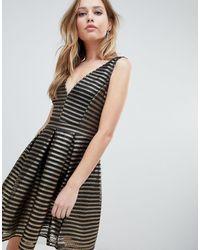 Oh My Love Structured Stipe Skater Dress - Black
