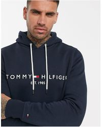 Tommy Hilfiger - Темно-синий Худи С Вышитым Логотипом-флагом - Lyst