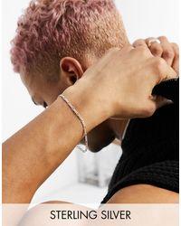 ASOS Sterling Silver Skinny 1mm Figaro Chain Bracelet - Metallic