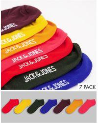 Jack & Jones Набор Из 7 Пар Спортивных Носков Разных Цветов -multi - Красный