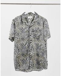 TOPMAN Short Sleeve Satin Revere Shirt - Multicolor