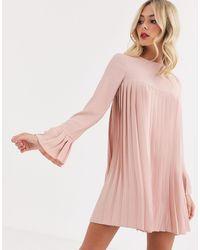 ASOS - Светло-розовое Платье Мини С Длинными Рукавами И Плиссировкой - Lyst