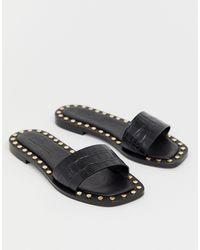 ASOS Foxhill Premium Studded Flat Leather Sandals - Black