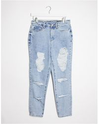 Blank NYC Straight Leg Jeans With Distressing - Blue