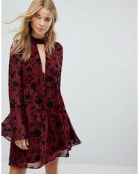 Honey Punch - Swing Dress In Velvet Floral Burnout - Lyst