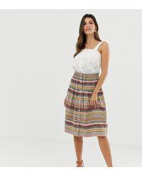 Esprit - Striped Button Through Midi Skirt - Lyst