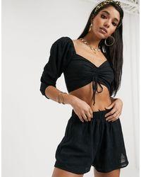 South Beach Sheer Cotton Crop Top And Short Set - Black