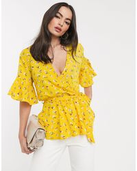 AX Paris Ruffle Wrap Blouse - Yellow