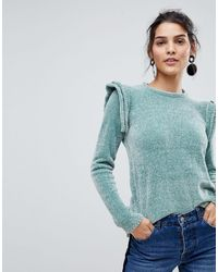 Y.A.S Ruffle Shoulder Knit - Red
